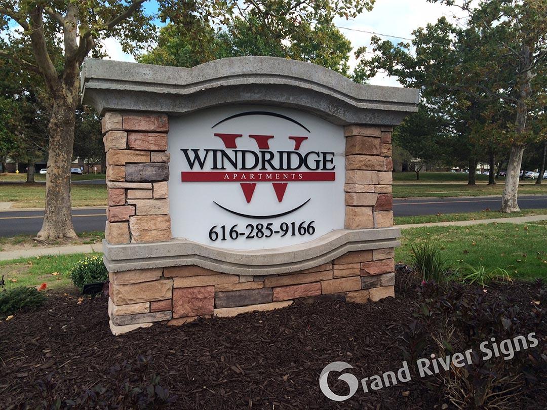 Custom Stone with Dimensional Letters – Windridge Apartments – Grand Rapids MI