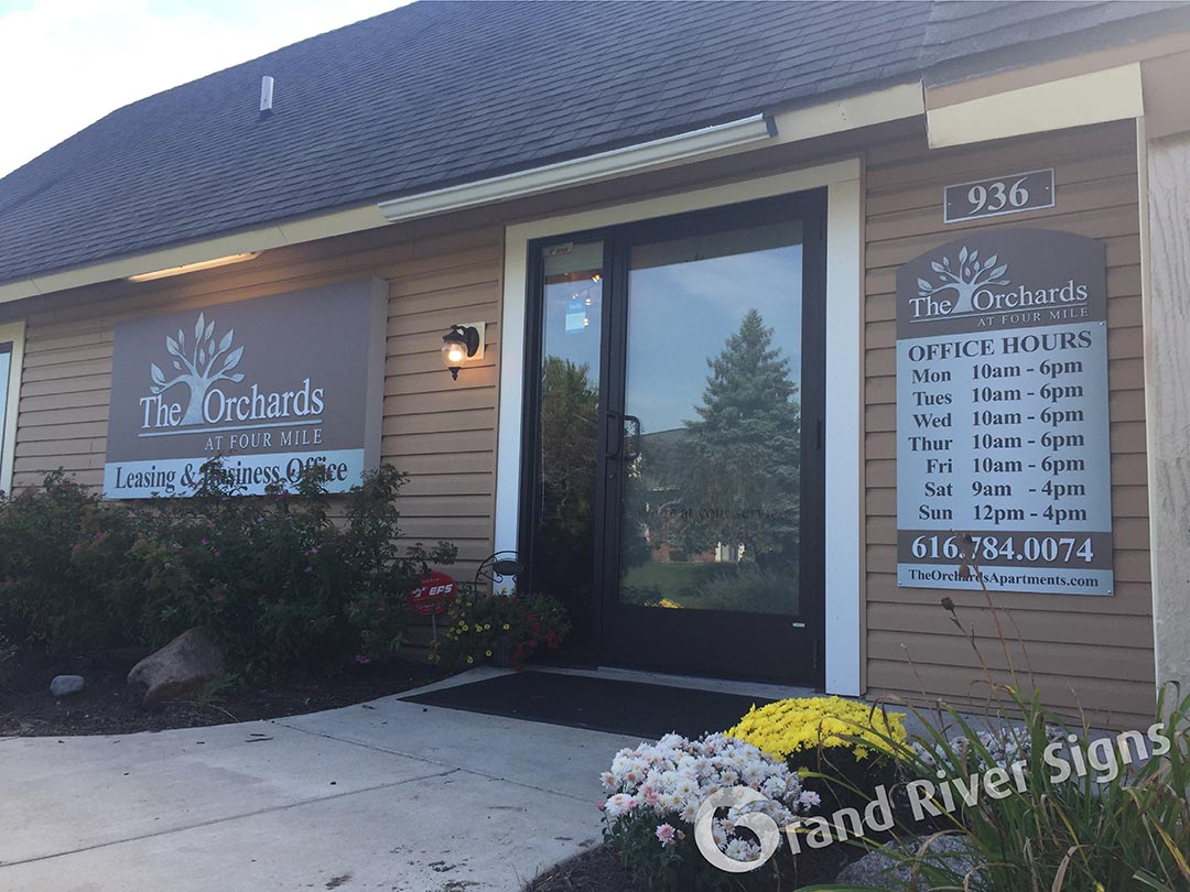 The Orchards Office Hours Sign – Grand Rapids MI